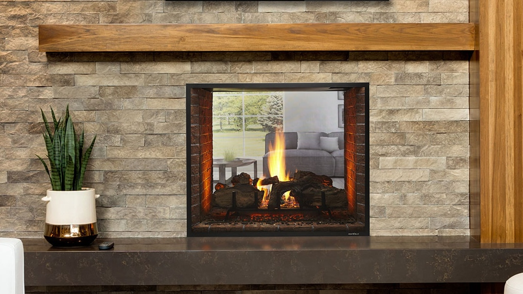 Heat & Glo Escape See-Through Gas Fireplace.